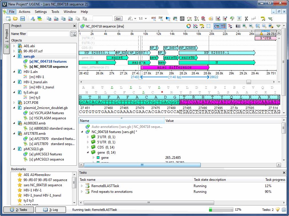 Unipro UGENE 64-bit screenshot